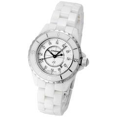 Chanel Ladies White Ceramic Diamond J12 Quartz Wristwatch