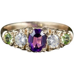 Antique Victorian Suffragette Ring Diamond Amethyst Peridot, circa 1900