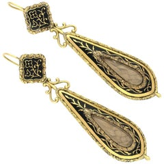 Pair of Victorian Memorial Earrings, circa 1860