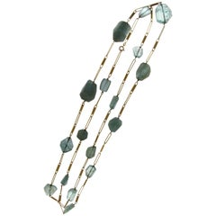 Antique Gold Aquamarine Necklace