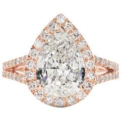GIA Certified 4.05 Carat Pear Shaped Diamond Rose Gold Engagement Ring