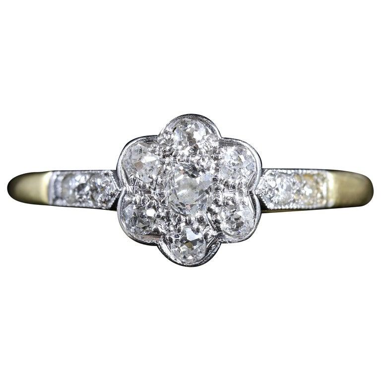 Antique Edwardian Diamond Cluster Ring 18 Carat Platinum, circa 1915