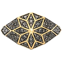 Zoe & Morgan Venus Star 9 karat Yellow Gold Black Diamond Cocktail Ring