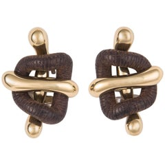 Nicholas Varney Cocobolo Wood and Gold Earrings