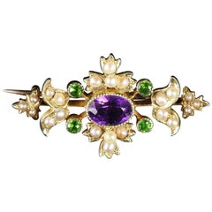 Antique Victorian Suffragette Brooch 15 Carat Gold Floral, circa 1900