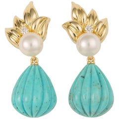 Tiffany & Co. Turquoise Pearl and Diamond Drop Earrings