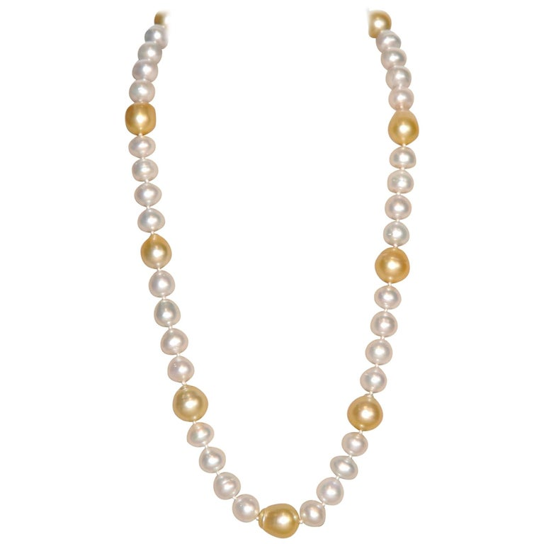 South Sea White and Gold 50 Pearls Beaded Necklace