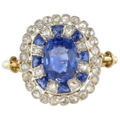 1900s French Sapphire Diamond Platinium Yellow Gold Antique Ring