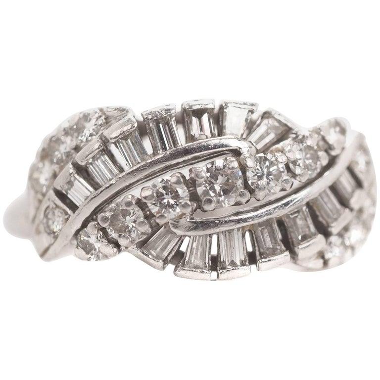 1960s 0.60 Carat Diamond and Platinum Cocktail Ring