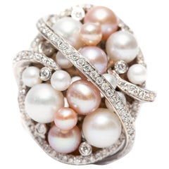 1.32 Carat Round Cut Diamond 18 Karat White Gold Fresh Water Pearl Fancy Ring