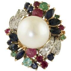 Australian Pearl Multiple Gem White and Rose Gold Ring