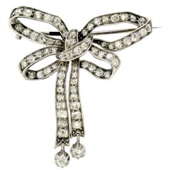 Art Deco Platinum Bow Tie Brooch with Diamonds '2 Carat Total', circa 1920s