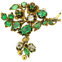 Antique Victorian 15 Karat Gold Brooch with Emeralds and Diamonds, circa 1880s