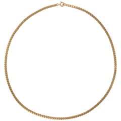 French 1960s 18 Karat Rose Gold Y Mesh Chain Necklace
