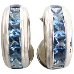 Fine Aquamarine 18 Karat White Gold Earrings