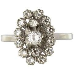 French 1970s Retro Diamond 18 Karat White Gold Marquise Ring