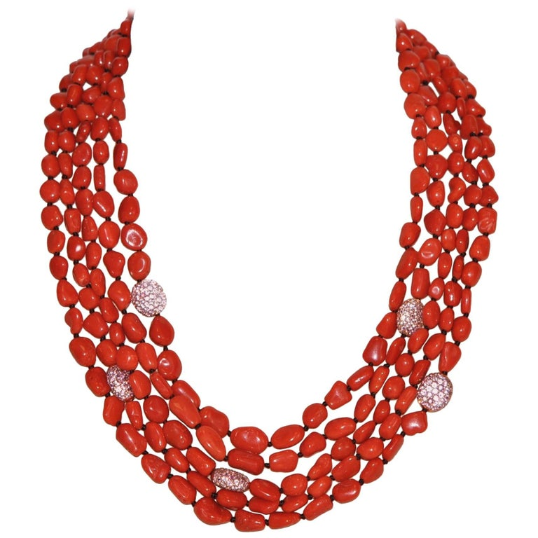 Coral and Pink Sapphires Pearls, Bakelite Multi-Strand Necklace