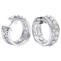 3.50 Carat Round Princess Cut Diamond 18 Karat White Gold Fancy Hoop Earrings