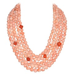 Pink and Red Coral, Bakelite Multi-Strand Necklace