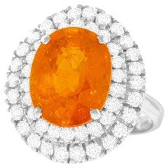 Spessartite Garnet and Diamond Set Gold Ring
