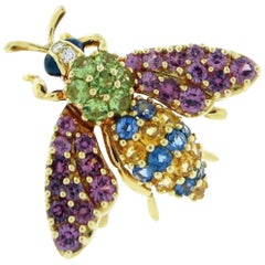 Jean Vitau Multi-Color Fly Brooch