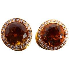 Fine Citrine 18 Karat Rose Gold Pair of Earrings