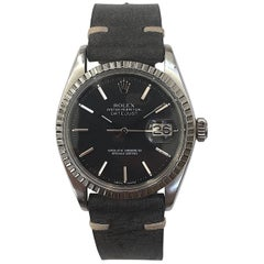 Rolex Stainless Steel Black Dial Oyster Perpetual Datejust Wristwatch, 1970s