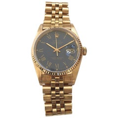 Rolex Yellow Gold Blue Buckley Dial Datejust Automatic Wristwatch