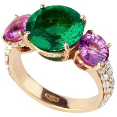 Emerald, Pink Sapphires and Diamonds Valadier Ring