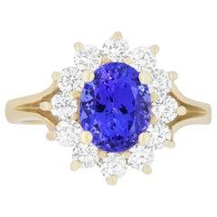 2.17 Carat Oval Tanzanite and 0.87 Carat Diamond Ring