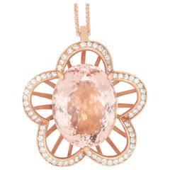 19.75 Carat Pink Morganite and 0.70 Carat White Diamond Pendant