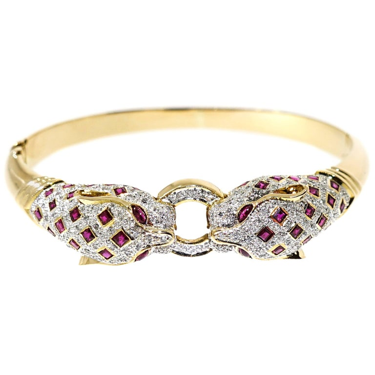 Diamond and Ruby Panther Yellow Gold Bangle Bracelet