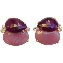 Michael Kneebone Ruby Pink Sapphire Diamond Gold Button Earrings