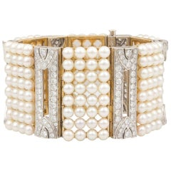 Ella Gafter Pearl and Diamond Cuff Bracelet