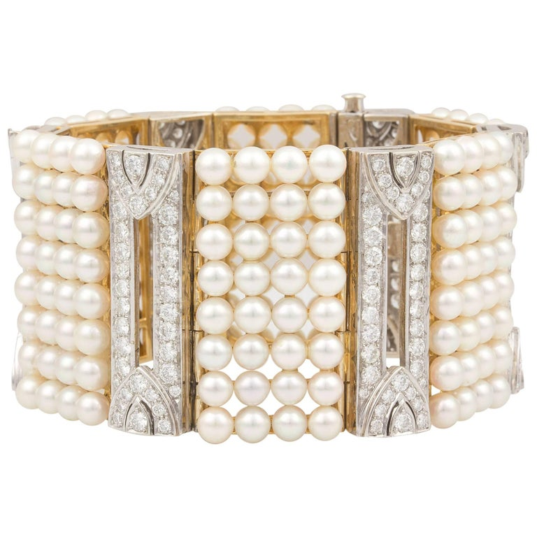 Ella Gafter White Japanese Akoya Pearl and Diamond Gold Cuff Bracelet