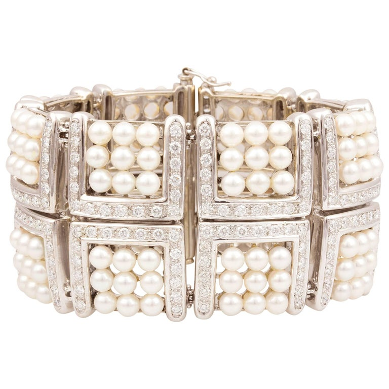 Ella Gafter Pearl and Diamond Cuff Bracelet