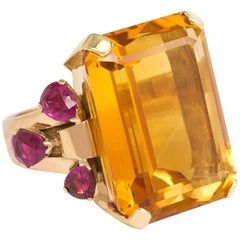 Retro Tiffany & Co. Gold Citrine and Ruby Cocktail Ring