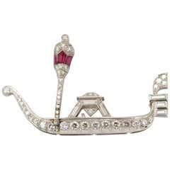 Art Deco Charming Lovely Gondole Platinum Gold Diamonds and Ruby