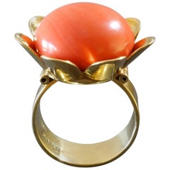 Bender German Modernist Salmon Coral Gold Stylized Flower Cocktail Ring