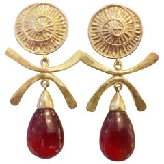Michael Kneebone Hessonite Garnet Gold Dangle Earrings
