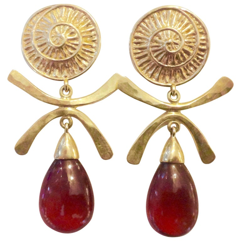 Michael Kneebone Hessonite Garnet Gold Dangle Earrings