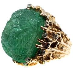 Impressive Carved Cabochon Emerald Diamond Gold 1970s Ring