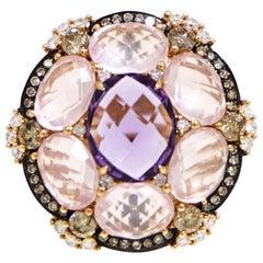 Pink Quartz and Amethyst Ring