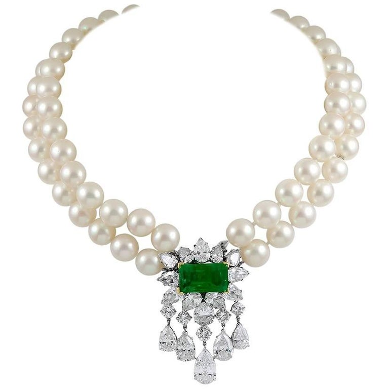 Van Cleef & Arpels Diamond, Cultured Pearl and Emerald Necklace