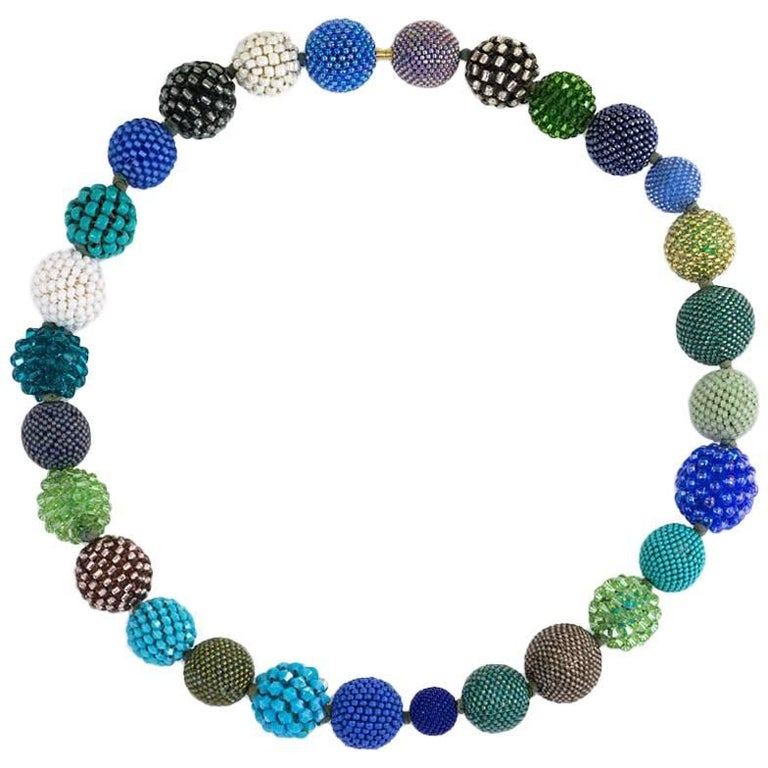 Axel Russmeyer Crystal and Glass Beaded Ball Necklace