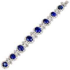 Bulgari Certified Sapphire Diamond Cluster Platinum Bracelet
