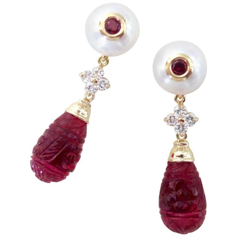 Michael Kneebone Rubellite Pearl Diamond Red Topaz Dangle Earrings