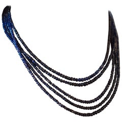 18 Karat White Gold, Diamond and Rough Sapphire Bead Necklace