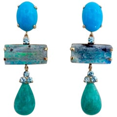 Michael Kneebone Turquoise Zircon Boulder Opal Amazonite Dangle Earrings