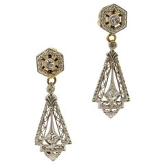 Art Deco Diamond Platinum and Gold Earrings